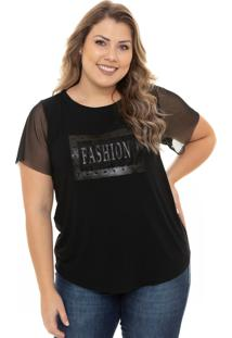 T-Shirt Ecolife Jeans Fashion Com Tule Preta