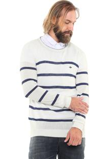 Suéter Triton Listrada Branco/Azul