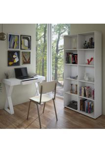 Escritório Completo Com Escrivaninha 1 Gaveta E Estante 10 Nichos Dorian Siena Móveis Branco