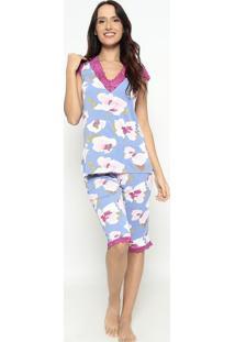 Pijama Capri Floral Com Rendaazul Claro & Pinkfruit De La Passion
