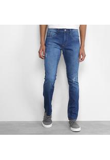 Calça Jeans Skinny Biotipo Elastano Puídos Masculina - Masculino-Azul