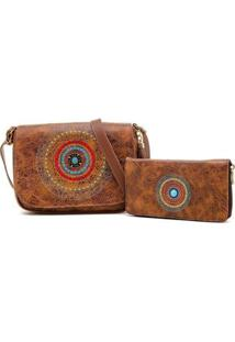 Kit De Bolsa + Carteira Mandala Bordada Nova Delhi Alice Monteiro - Feminino-Tabaco