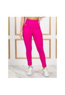 Calça Miss Misses Lipo Skinny Cintura Alta Pink