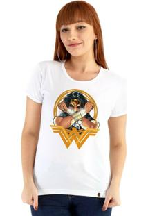 Baby Look Ouroboros Manga Curta Wonder Woman Feminina - Feminino-Branco