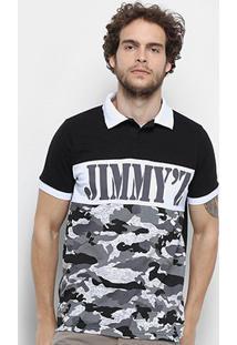 Camisa Polo Jimmy'Z Camuflado Navy Masculina - Masculino-Cinza+Preto