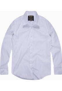 Camisa Slim Masculina Com Elastano Branco .