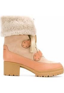 See By Chloé Ankle Boot Com Cadarço De Couro - Neutro