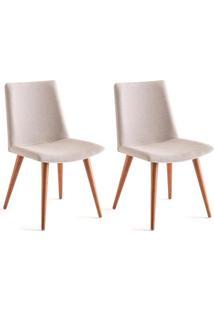 Conjunto Com 2 Cadeiras De Jantar Lilia Creme E Castanho