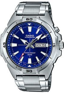Relógio Casio Collection Analógico Mtp-E203D Feminino - Feminino-Azul+Prata
