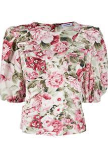 P.A.R.O.S.H. Blusa Com Babados E Estampa Floral - Rosa