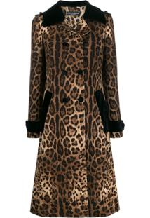Dolce & Gabbana Trench Coat Animal Print - Marrom