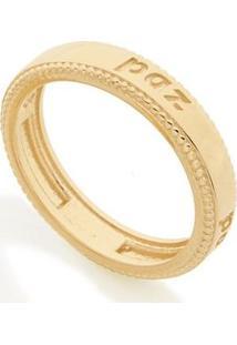Anel Com A Descrição Paz Rommanel - Feminino-Dourado