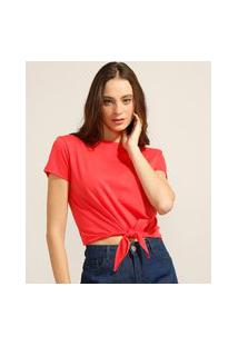 Camiseta Cropped De Algodão Básica Com Nó Manga Curta Decote Redondo Vermelha