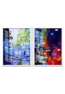 Quadro 65X90Cm Abstrato Arquitetura Urbana Cidade Moldura Branca Sem Vidro Decorativo Interiores