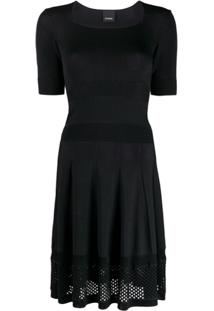 Pinko Square Neck Knitted Dress - Preto