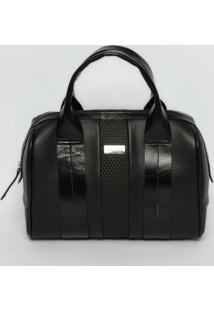 Bolsa Em Couro & Com Recortes - Preta - 25X29X15Cmgriffazzi