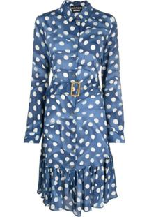 Boutique Moschino Vestido Com Poás E Babados - Azul