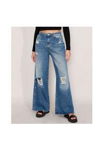 Calça Wide Pantalona Jeans Destroyed Com Fenda E Botões Cintura Super Alta Azul Médio