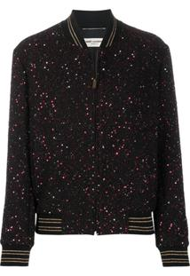 Saint Laurent Sequinned Bomber Jacket - Preto