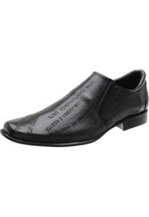 Sapato Social Couro Stefanello Elástico Masculino - Masculino-Preto