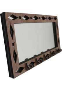 Porta Chaves Crie Casa Marrom Espelhado Geométrico - Tricae
