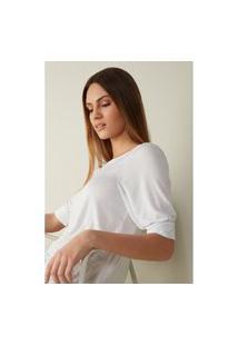 Blusa Com Decote Canoa Em Modal E Seda - Branco G Intimissimi