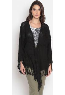 Kimono Com Bordado & Franjas- Preto- Cotton Colors Ecotton Colors Extra