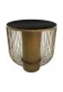 Mesa Lateral Em Metal Dourado E Tampo De Vidro Madison P