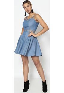 Vestido Jeans Com Amarração- Azul Claro- Bhlbhl
