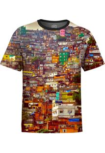 Camiseta Estampada Over Fame Favela Multicolorido