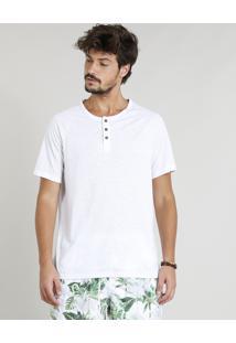 Camiseta Masculina Botonê Com Linho Manga Curta Raglan Gola Careca Branca