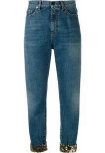Saint Laurent Calça Jeans Cropped - Azul