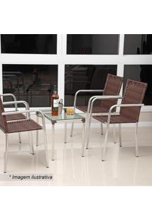 Conjunto De Mesa De Centro & Cadeiras Flora- Castanho & Alegro
