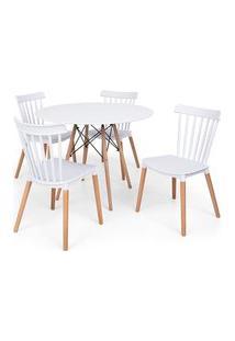 Conjunto Mesa Eiffel Branca 100Cm + 4 Cadeiras Windsor - Branco