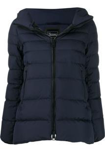 Herno Short Hooded Zip-Up Jacket - Azul
