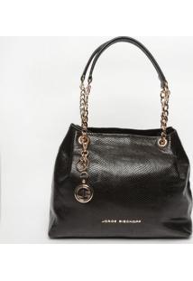 Bolsa Em Couro Com Bag Charm - Preta- 30X35X16Cmjorge Bischoff