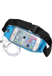 Pochete Fitss Para Celular Com Porta Chave Azul