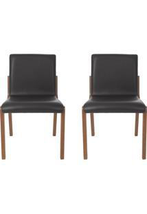 Conjunto De Cadeiras Angelina - 2 Peã§As - Couro Preto