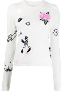 Barrie Suéter Com Pesponto - Branco