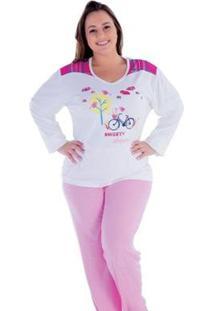 Pijama Feminino Victory Plus Size Inverno Frio Longo Canelado - Feminino-Rosa
