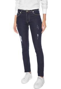 Calça Jeans Aleatory Skinny Pesponto Azul-Marinho
