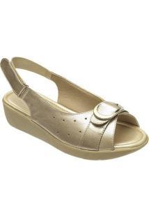 Sandálias Feminina Confort Em Couro Danflex - Feminino-Dourado