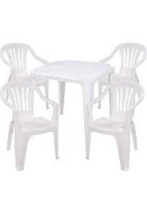 Jogo Mesa 4 Cadeiras Brancas Bela Vista Plástico Empilháveis