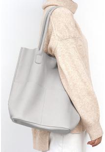 Bolsa Line Store Leather Sacola Shopper N1 Bolsos Couro Branco - Branco - Feminino - Dafiti