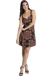 Vestido Viscose Floral Handbook - Feminino-Preto