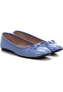 Sapatilha Moleca Bico Quadrado Lacinho Feminina - Feminino-Azul Claro