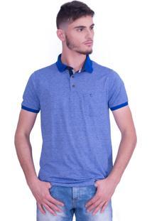 Camisa Polo Olimpo Camisaria Meia Malha Jacquard Com Bolso Manga Curta Azul