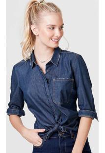 Camisa Jeans Feminina Manga Longa Com Detalhes De Botões