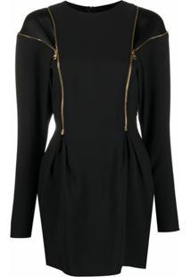 Versace Vestido Mini Com Detalhe De Zíper - Preto