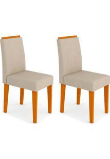 Conjunto Com 2 Cadeiras Ana I Ipê E Creme